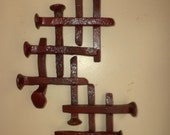 Abstract Recycled Metal Wall Art     Railroad Spikes