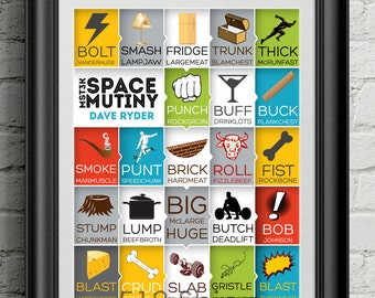 MST3K Space Mutiny - Dave Ryder Names -  Art Print Wall Decor Typography Inspirational Poster Motivational Movie Quote