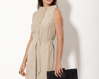 Summer dress - business dress - sleeveless dress - business casual -  asymmetrical dress