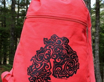 MDI Tribal Tattoo Design Pigment Dyed Cinch Bag Backpack -  Screen Printed Original Design