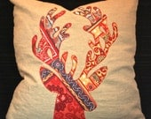 Reindeer Christmas Linen Pillow