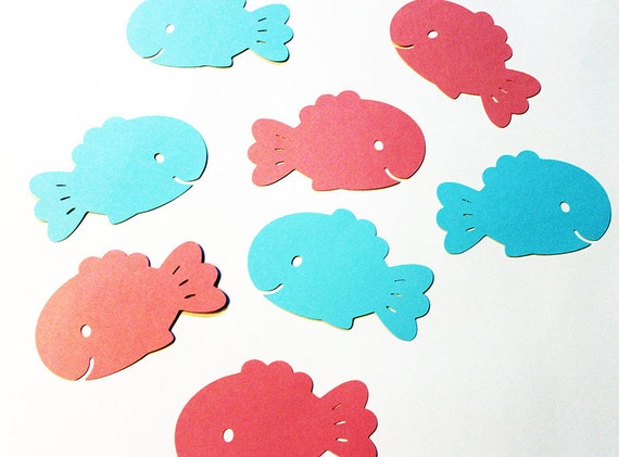 50 Large Fish Die Cuts Pick Your Own Colors By Scrappuchino