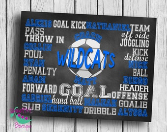 Customized SOCCER coach gift, personalized soccer gift, soccer subway art, coach art, DIGITAL IMAGE, coach print, chalkboard art