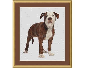 Cross Stitch Pattern American Bulldog Pup / Puppy