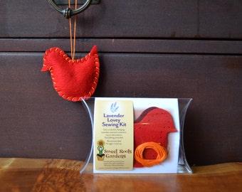Kids Sewing Kit, Lavender Lovey Felt Bird Ornament