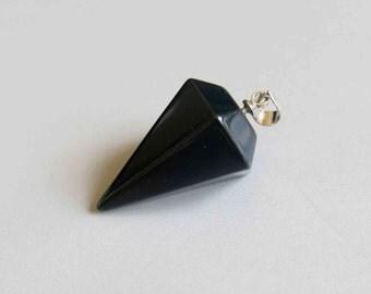 Black Agate Pendulum Faceted Point Pendant Beads - B1204