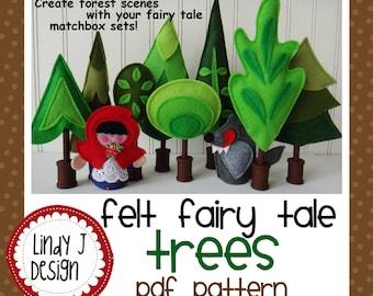 Felt FAIRY TALE TREES for Matchbox Cottage Sets pdf Pattern