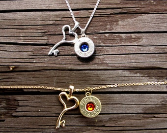 Bullet Necklace- Birthstone Necklace- Personalized Silver Necklace- Heart Key- Bullet Jewelry- 38 Special- Ammo Necklace- Eco Friendly Gift