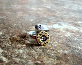 Bullet Initial Ring- Initial Ring- Bullet Ring- Ammo Ring- Bullet Jewelry- Ammunition- Stamped- Personalized- Wrap Ring- Unique- Gift