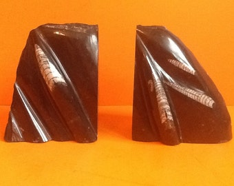 Prehistoric Bookends orthoceras fossil kids bookends dinosaur  nursery book ends Art Deco bookends children's bookends  antique bookends