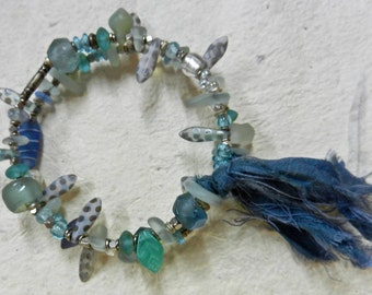 Hand Made OOAK Wrap Around Bangle Bracelet In Shades Of Water And Sky With Silk Ribbon By Kathryne L. Wright