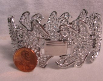 """Incredible SARAH COVENTRY Signed 1.5"""" Wide Panel Bracelet, Frosty Silver Filigree, 1970's"""