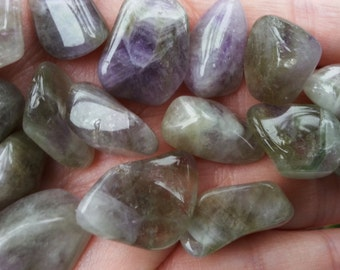 Prasiolite (Amegreen) ~ Green and Purple Amethyst ~ 1 small Reiki infused tumbled crystal