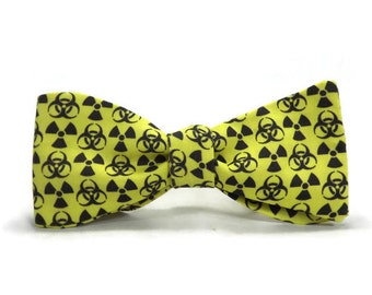 Radioactive Bowtie, Hazardous material, Nuclear Radiation, warning sign, science bowite, bright yellow, biohazard, symbol, Atomic, Toxic