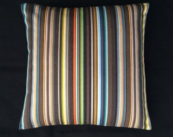 "Paul Smith Ottoman Stripe by Maharam - Cocoa 17""x17""  Pillow - includes feather insert"