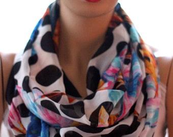Flower Pattern Tinsel Chiffon Infinity scarf, Circle scarf, scarves, shawls, spring fashion, fall fashion, winter, fashion  summer fashion