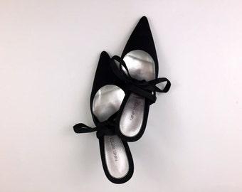 Black Lace Up High Heels - Size 7 1/2 90s Black Formal Shoes - Vintage 1990s Nine West Heels