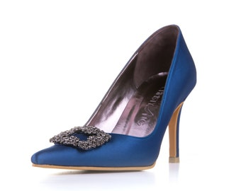 Blue Custom Made Heels, Blue Pointy Toe Heels, Something Blue Heels, Something Blue Wedding Heels, Diamante Wedding Shoes