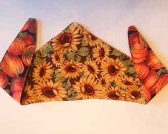 Tie-on Dog Bandana Sunflower and Pumpkin  - XSmall/Small/Medium/Large/XLarge