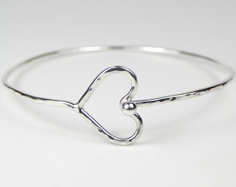 Hallmarked 925 Sterling Love Heart Bangle Bracelet, Valentines