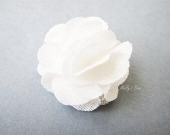 White Linen Magnetic Lapel Flower - Wedding Boutonniere - Magnet Lapel Pin - Buttonhole - Groomsmen - White Wedding