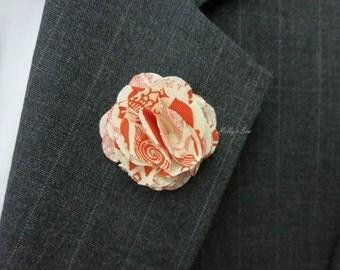 Bohemian Orange Floral - Men's Boutonniere - Lapel Flower - Tuxedo Corsage - Buttonhole - Brooch Pin