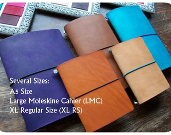 Traveler's Notebook leather Cover, A5, Large Moleskine Cahier or XL Regular Size, several colors