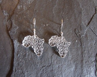 SALE 25% OFF Africa Earrings Laser Engraved Handmade  Sterling Silver Ear Wires