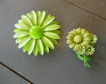 Metal Painted Flower Group of 2 , Chartreuse , Lime Green