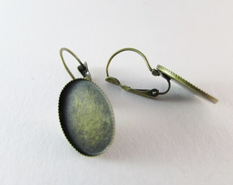 D-00276 - 4 Lever back hoop earrings antique bronze 18x13mm