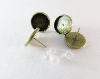 D-00279 - 4 Ear stud bases ant. bronce tray 12mm