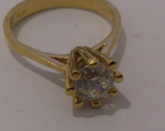 vintage gilded sterling silver cubic zirconia ring