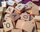 100 Vintage Scrabble Pieces, Wood Scrabble Pieces, Scrabble Pieces and bag,