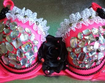 Pink Rhinestone Punk Princess Bra