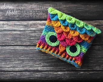 CROCHET PATTERN Crocodile Stitch Owl Hat. Pattern number 056. Instant Download