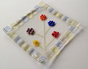 Flower Plate, Fused Glass, Handmade, Made in the UK
