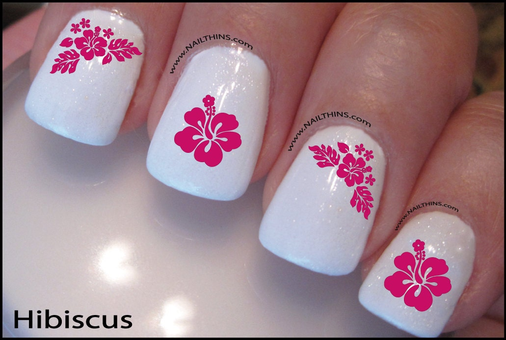 Hibiscus nail decal hawaii flower pink blue or red hawaiian nail hibiscus  nail decal hawaii flower - Hawaiian Nail Art Choice Image - Nail Art And Nail Design Ideas