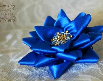 """Blue flowers for wedding- """"Mariana"""": blue wedding flower, Kanzashi ribbon flower, wedding flower girl"""