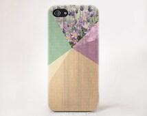 Floral Geometric on wood iPhone 6 iPhone 5s Wood lavender colour print iPhone 6 case wood geometric iPhone 5 floral iPhone case
