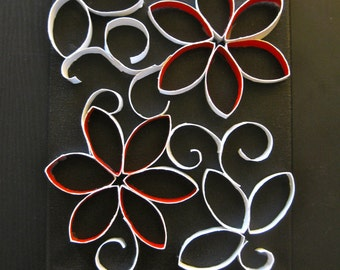 3D Paper Flower Art / Canvas 8x10 / Red and White / Modern Wall Art / Red Flowers