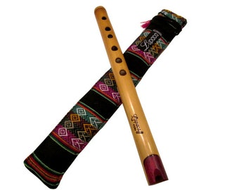 UtraProfessional Lupaca bamboo Quena with red wood mouthpiece in G