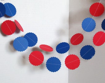 Red and Blue Garland,Paper Garland,Circle garland,Birthday Garland,10 feet garland,Photo prop garland,Confetti Garland