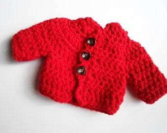 Red, Newborn Baby Jacket, Newborn Jacket, crochet Jacket, handmade jacket, thick double string crochet