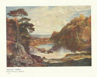 Falls of Tummel Linn Scotland colour print by C E Johnson 1900 Print Wall Art Home Decor Vintage Print Antique Print