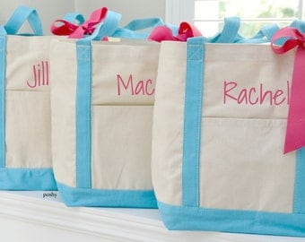 Personalized Tote, LARGE boat tote, Bag, gift for her, bridesmaid, bride, maid of honor, Wedding
