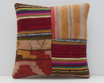 couch pillow cover 16x16 DECOLIC aubusson pillow throw pillow large decorative pillow turkish pillow patchwork sham 15454 kilim pillow 40x40