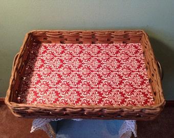 Decoupaged Woven Basket Tray