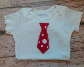 Personalized Christmas tie onesie, 6 month size. Ready to ship.