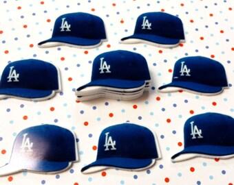 32mm Baseball Cap Dodgers flatback Resin Cabochon 4 pcs