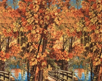 Autumn Landscape Nature Scenery Cotton Fabric by Timeless Treasures! [Choose Your Cut Size]